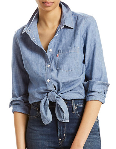 LeviS Liza Tie Denim Shirt-MEDIUM LIGHT WASH-Medium
