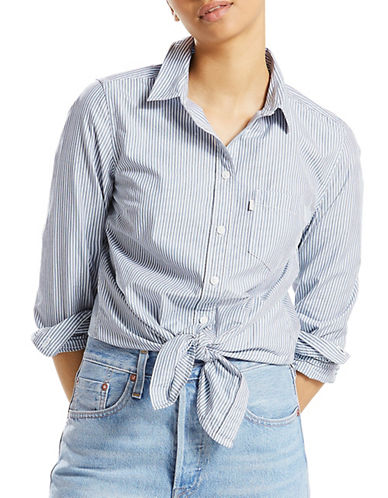 LeviS Liza Striped Tie Shirt-BLUE-Large