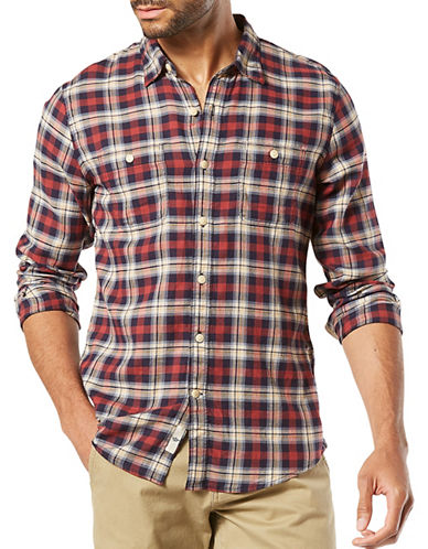 Dockers Knox Coastal Twill Cotton Casual Button-Down Shirt-RED-Medium