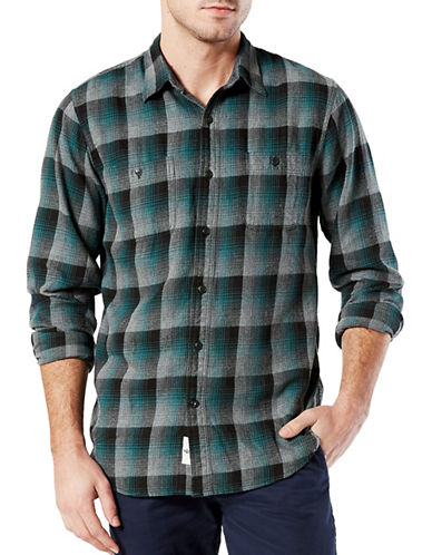 Dockers McCall Flannel Spory Shirt-BLUE/GREEN-Small