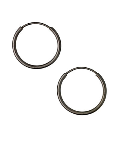 Pilgrim Classic Hematite-Tone Creole Hoop Earrings-BLACK-One Size