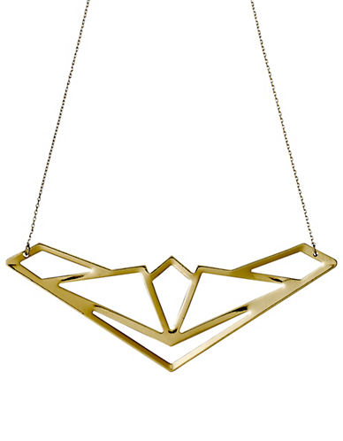 Pilgrim Spire 14K Goldplated Geo Pendant Necklace-GOLD-One Size