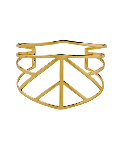 Pilgrim Spire 10K Goldplated Geo Cut-Out Cuff-GOLD-One Size