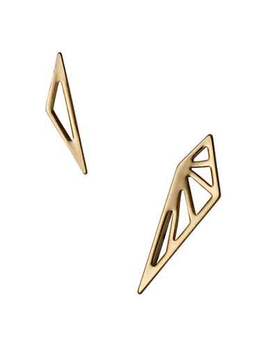 Pilgrim Spire 14K Goldplated Geo Mismatch Earrings-GOLD-One Size