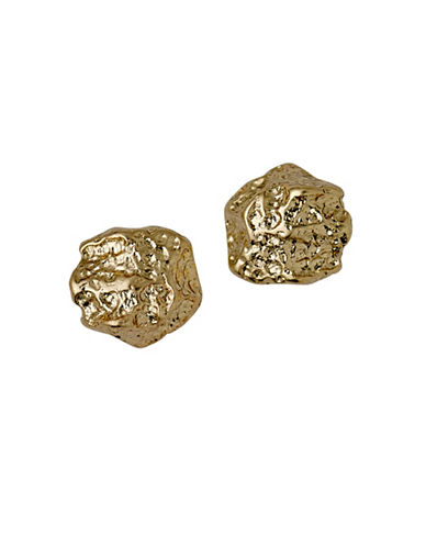 Pilgrim Fragment 14K Goldplated Rock Stud Earrings-GOLD-One Size