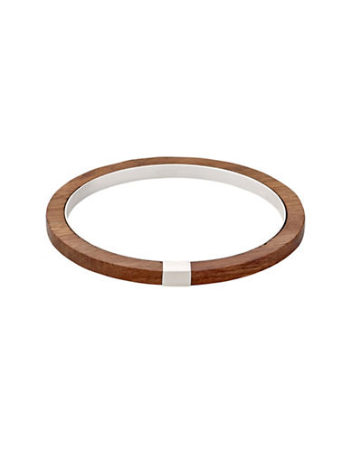 Pilgrim Quest 14K Goldplated Wood Bangle-BROWN-One Size