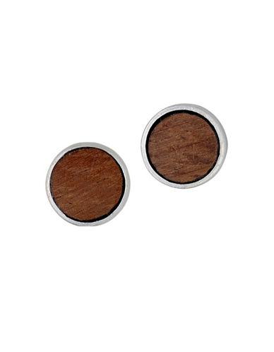 Pilgrim Quest 14K Goldplated Wood Stud Earrings-BROWN-One Size