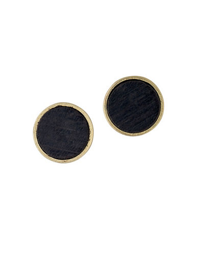 Pilgrim Quest 14K Goldplated Wood Stud Earrings-GOLD-One Size
