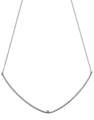 Pilgrim Curve and Crystal Pendant Necklace-SILVER-One Size
