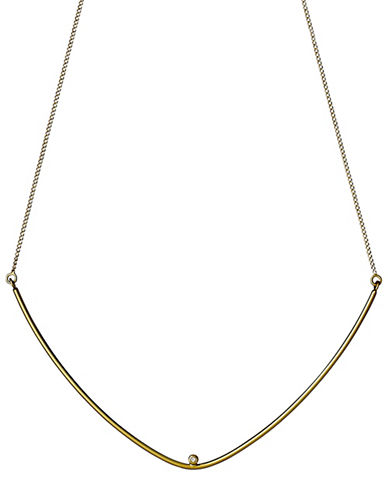 Pilgrim Curve and Crystal Pendant Necklace-GOLD-One Size