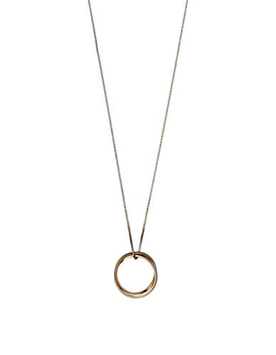 Pilgrim Rose Goldtone Double Ring Long Necklace-ROSE GOLD-One Size