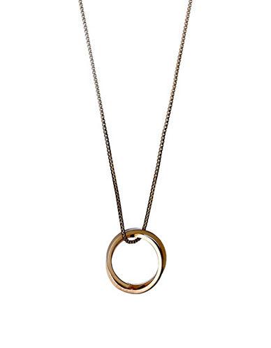 Pilgrim Rose Goldtone Double Ring Necklace-ROSE GOLD-One Size