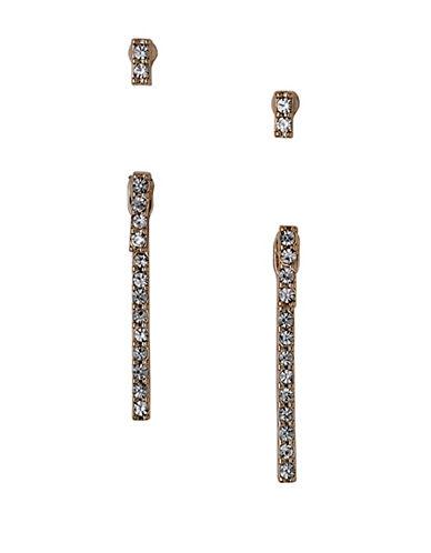 Pilgrim Linear Drop Crystal Earrings Set-ROSE GOLD-One Size