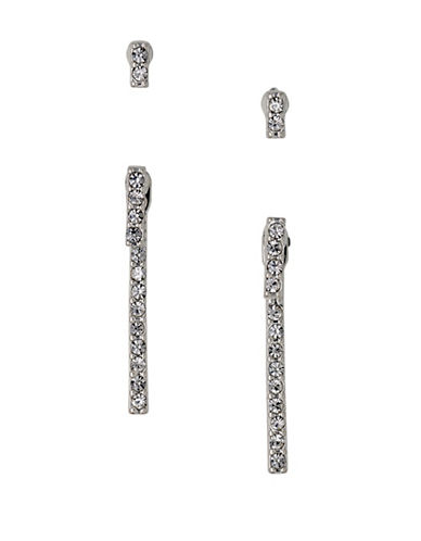 Pilgrim Linear Drop Crystal Earrings Set-SILVER-One Size