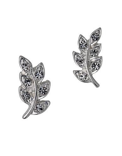 Pilgrim Crystal Leaf Stud Earrings-SILVER-One Size