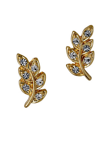 Pilgrim Crystal Leaf Stud Earrings-GOLD-One Size