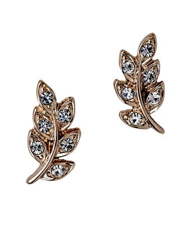 Pilgrim Crystal Leaf Stud Earrings-ROSE GOLD-One Size