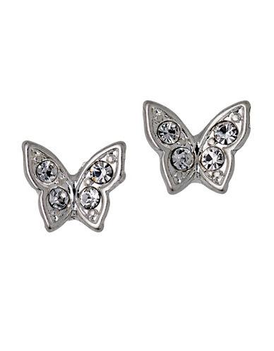 Pilgrim Crystal Butterfly Stud Earrings-SILVER-One Size