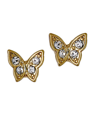 Pilgrim Crystal Butterfly Stud Earrings-GOLD-One Size