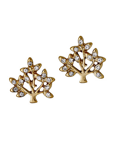 Pilgrim Crystal Tree Stud Earrings-GOLD-One Size