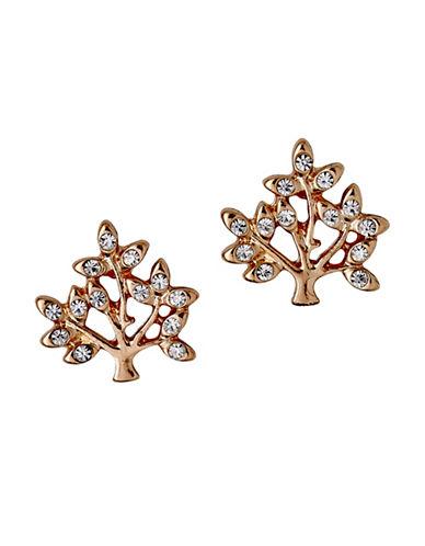 Pilgrim Crystal Tree Stud Earrings-ROSE GOLD-One Size