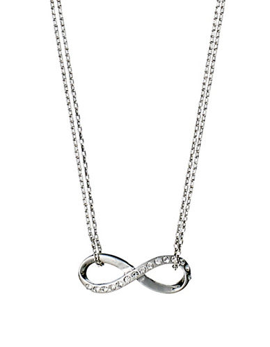 Pilgrim Crystal Infinite Pendant Necklace-SILVER-One Size