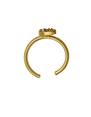 Pilgrim Obvious Czech Crystal Goldplated Crescent Moon Cuff Earrings-GOLD-One Size