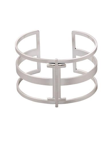 Pilgrim Fortitude Silvertone Open Cuff Bracelet-SILVER-One Size