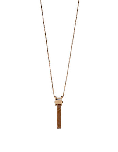 Pilgrim Conscious Rostone Rose Goldplated Long Bar Pendant Necklace-ROSE GOLD-One Size