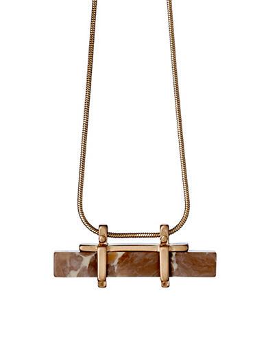 Pilgrim Conscious Rostone Rose Goldtone Horizontal Pendant Necklace-ROSE GOLD-One Size