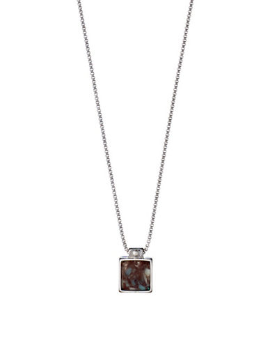 Pilgrim Conscious Rostone Silverplated Square Pendant Necklace-SILVER-One Size