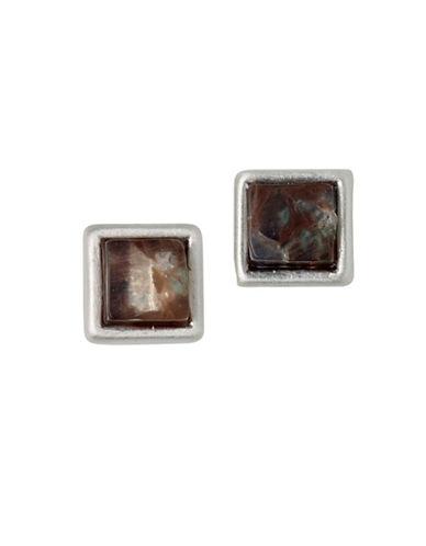Pilgrim Conscious Rostone Square Stud Earrings-SILVER-One Size