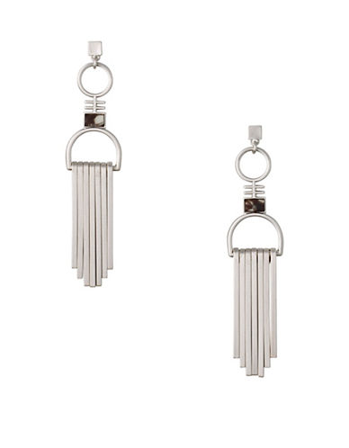 Pilgrim Conscious Rostone Silverplated Stud Dangle Earrings-SILVER-One Size