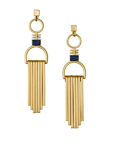 Pilgrim Conscious Rostone Goldplated Bar Drop Earrings-GOLD-One Size