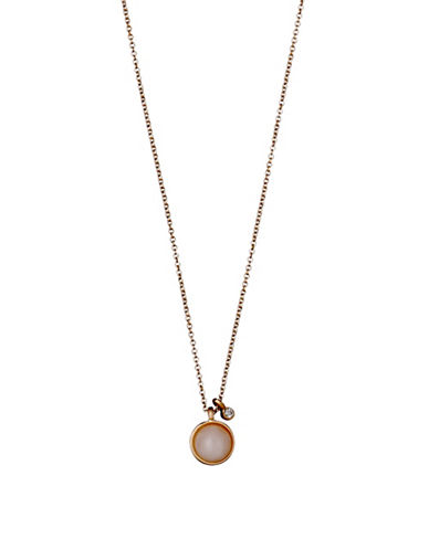 Pilgrim Worthy Quartz and Czech Crystal Rose Goldtone Pendant Necklace-ROSE GOLD-One Size