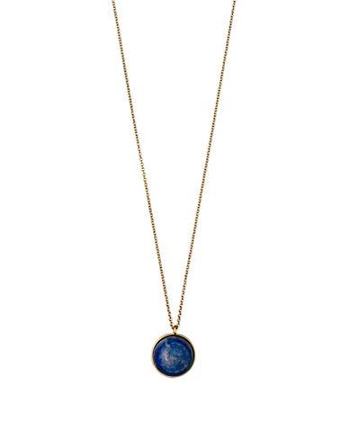 Pilgrim Worthy Lapis Goldplated Pendant Necklace-GOLD-One Size