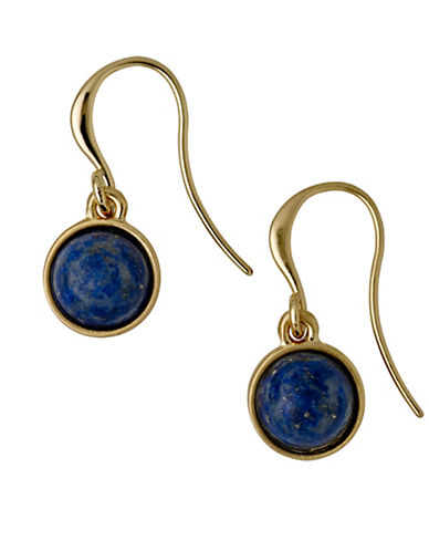 Pilgrim Worthy Lapis Goldplated Drop Earrings-GOLD-One Size