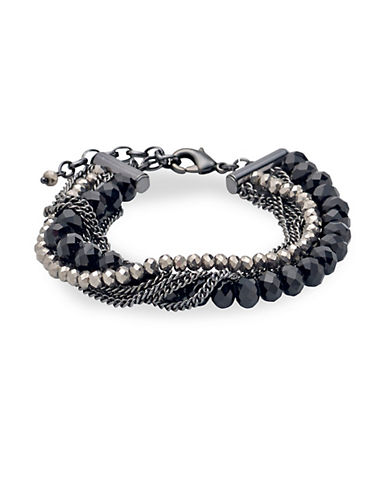 Pilgrim Secret Hematite-Tone Beaded Bracelet-BLACK-One Size