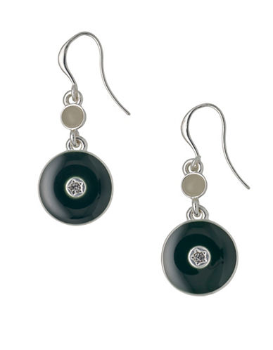 Pilgrim Tradition Czech Crystal and Rostone Silverplated Enamelled Disc Drop Earrings-SILVER-One Size