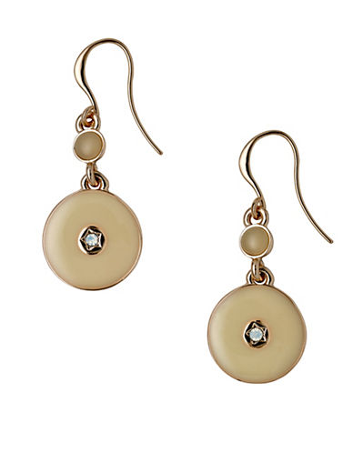 Pilgrim Tradition Czech Crystal and Rostone Rose Goldtone Enamelled Disc Drop Earrings-ROSE GOLD-One Size