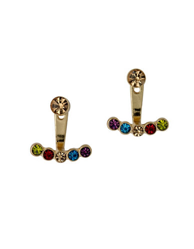 Pilgrim Multihued Czech Crystal Goldplated Swing Earrings-GOLD-One Size