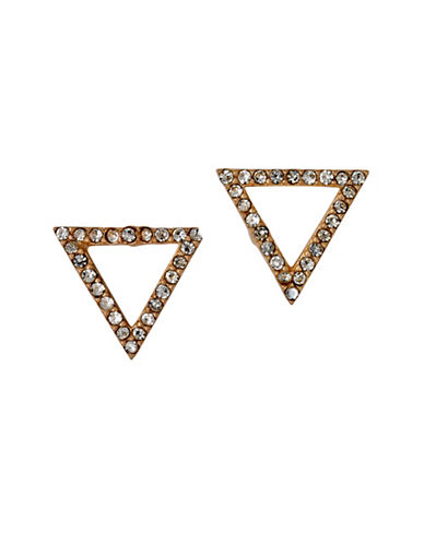 Pilgrim Pave Goldplated Triangle Stud Earrings-ROSE GOLD-One Size