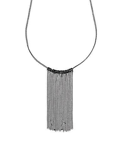 Pilgrim Horizons Hematite-Tone Cascade Curb Chain Necklace-BLACK-One Size