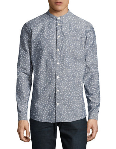 Minimum Getty Printed Slub Shirt-BLUE-Medium