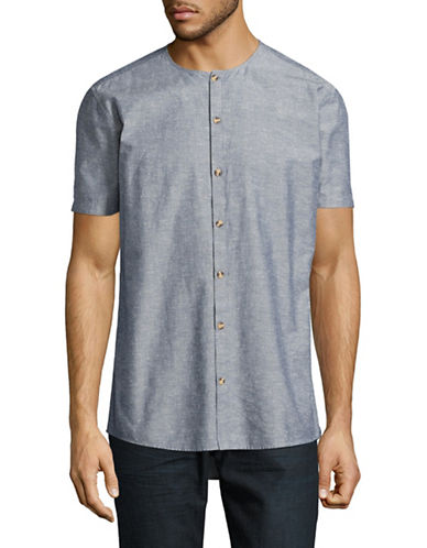 Minimum Collarless Chambray Sport Shirt-BLUE-X-Large
