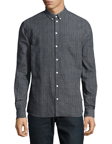Minimum Miro Cotton Sport Shirt-NAVY-Small