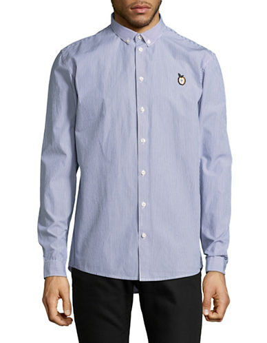 Minimum Crest Striped Cotton Sport Shirt-NAVY-Medium