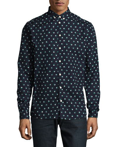 Minimum Crest Polka Dot Cotton Sport Shirt-BLUE-Small