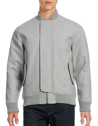 Rvlt Wool-Blend Flap-Front Bomber Jacket-GREY-Large 88682707_GREY_Large