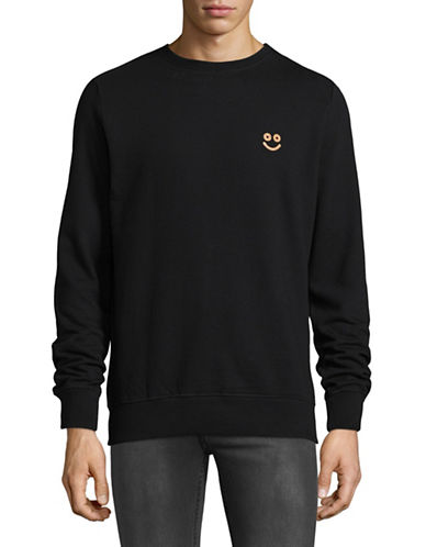 Rvlt Cork Logo Crew Neck Sweatshirt-BLACK-Medium